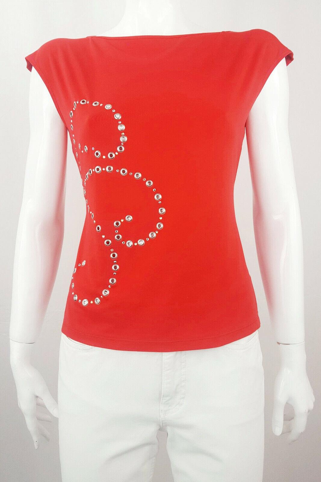 VERSACE JEANS COUTURE damen Short Cap Sleeve T Shirt Top Ittierre rot XL