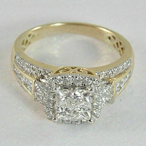 1.50 Ct Princess Cut Diamond Halo Engagement Wedding Ring 14K Yellow Gold Over