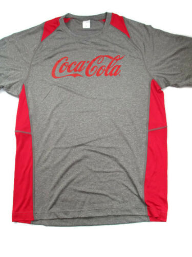 Coca-Cola Heather Gray and Red Sport Fabric Tee T-shirt Large BRAND NEW