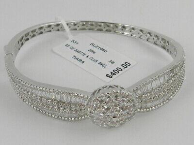Absolute Cubic Zirconia Sterling Silver Oval Pav Bangle Bracelet