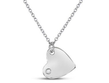 1/20 Carat Diamond Heart Pendant Necklace in Sterling Silver