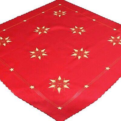 Weihnachten Advent Tischdecke Mitteldecke 85x85 Sterne Weihnachtsstern Polyester