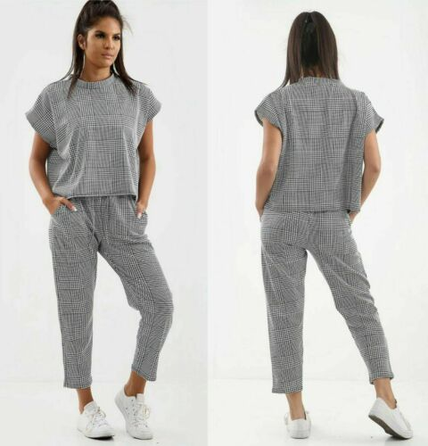WOMEN/'S LADIES SHORT SLEEVE CHECK DOG TOOTH PRINT BOXY SUIT LOUNGEWEAR TRACKSUIT