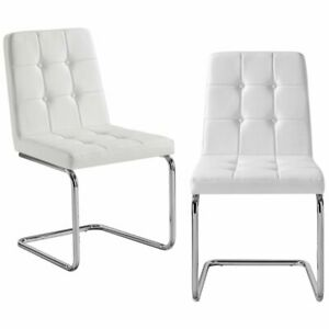 Prime Details About Jonathan White Leather Dining Chair Set Of 2 Tufted Chrome Frame Beatyapartments Chair Design Images Beatyapartmentscom