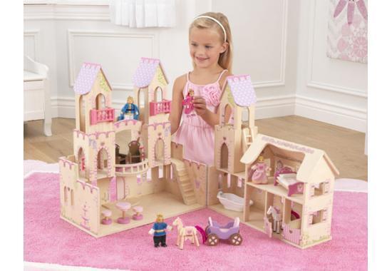 Chateau de princesse maison de poupée en bois 4 4 4 poupées en bois + chevaux 65259 b7c9f9