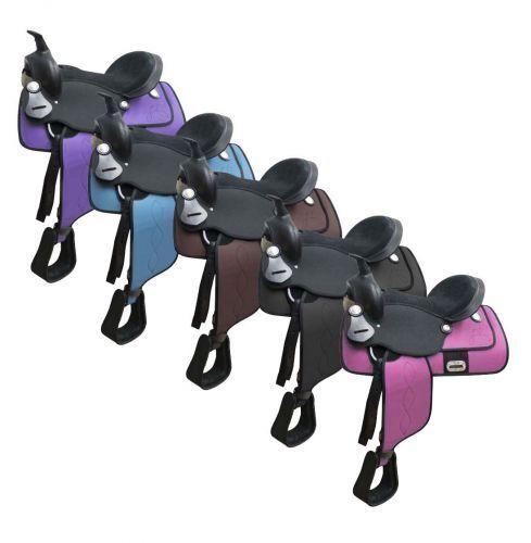 Cordura selle poney avec daim Siège Cuir 12  5 Couleurs à Choisir Neuf