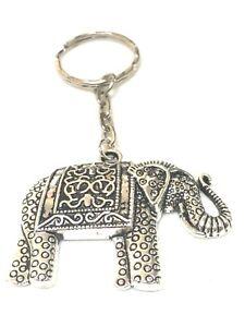 Elephant-Keyring-Bag-Charm-ORNATE-SILVER-Elephants-Keyrings-FREE-GIFT-BAG-UK