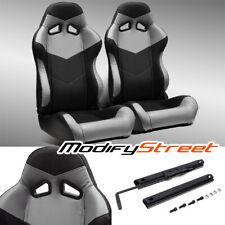 2 X Blackgrey Pvc Leather Leftright Reclinable Racing Bucket Seats Slider Fits Toyota Celica