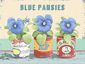 BLU Pansies, vintage fiore casa giardino Bagno Cucina, piccolo metallo / latta