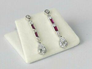 Ladies-Art-Deco-Design-925-Sterling-Silver-Ruby-amp-White-Sapphire-Drop-Earrings