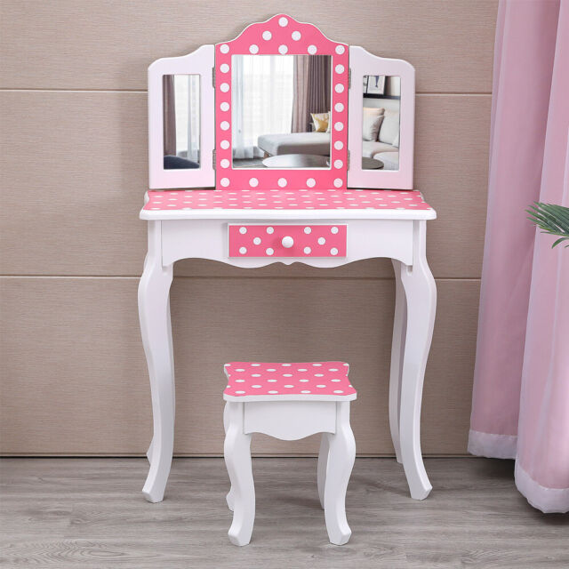 Girls Kids Vanity Set Classic Pink Makeup Children Modern Furniture Bedroom For Sale Online Ebay