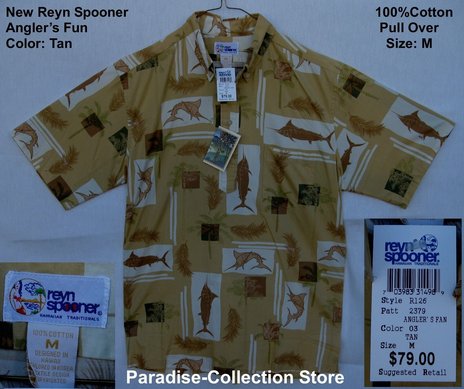 NEW REYN SPOONER BEAUTIFUL  FISHING ANGLERS FUN 100%  COTTON TAN PULL OVER  M