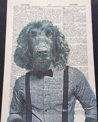 Schwarz Cocker Spaniel Vintage Wörterbuch Seite Bild Druck Tiere Hund IN Kleider