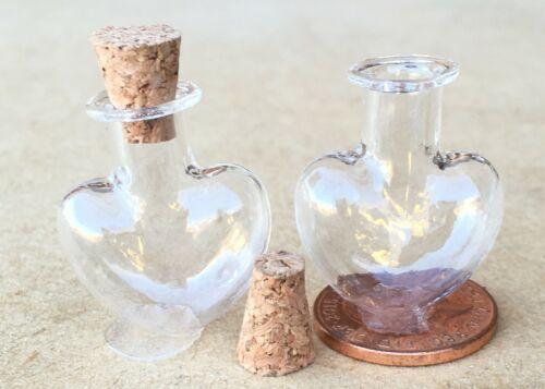 1:12 Maßstab 2 Glas Nicht Stehend Herz Gefäße Kork Top Tumdee Puppenhaus G25yh