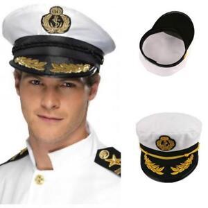 abc5b38c0e639 Unisex Women Men Skipper Hat Yacht Sailor Navy Captain Boat Ship ...