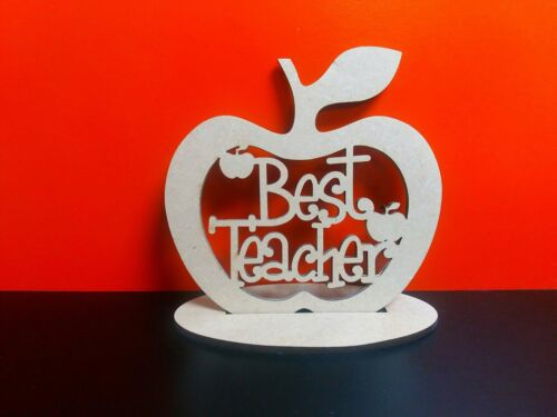 5 x  Mdf Best Teacher Funky Apples on a detachable stand