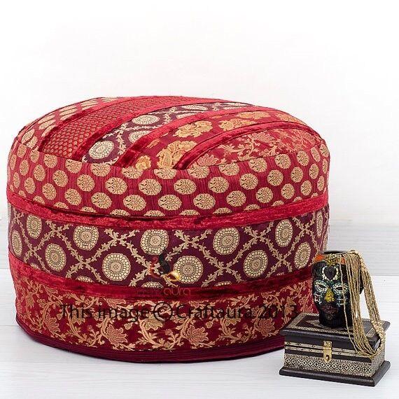 Pouf Ottoman Indian Saree Pouffe Round Poof Foot Stool Floor Pillow Ethnic Decor