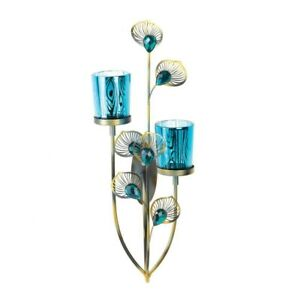 Peacock Plume Wall Sconce - Faceted Blue Buds - Metal Plumes - 2 Glass Cups
