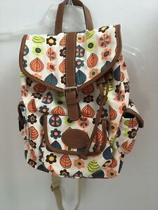 Lily-Bloom-Natural-Cotton-Canvas-Backpack-Drawstring-3-Exterior-Pockets-Floral