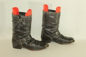 Dark-Brown-Leather-RIVER-ISLAND-Pull-On-Wrinkle-Biker-Mid-Calf-Boots-Size-4-37