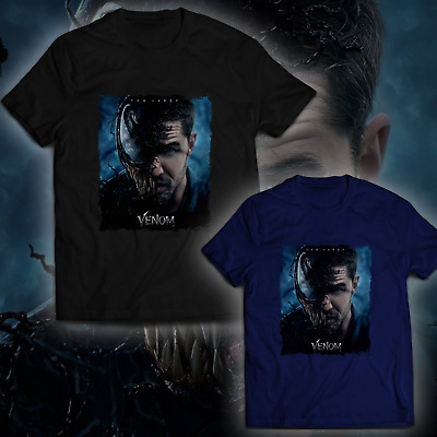 Venom Movie 2018 Black Navy T-Shirt Hom Hardy Poster Tee Free Shipping For US