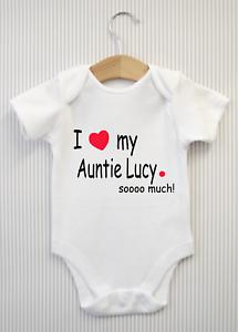Personnalisé I LOVE My Auntie tellement Baby Grow Babygrow Body Soeur Frère