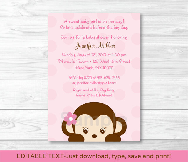 Mod Girl Monkey Jungle Safari Printable Baby Shower Invitation Editable PDF