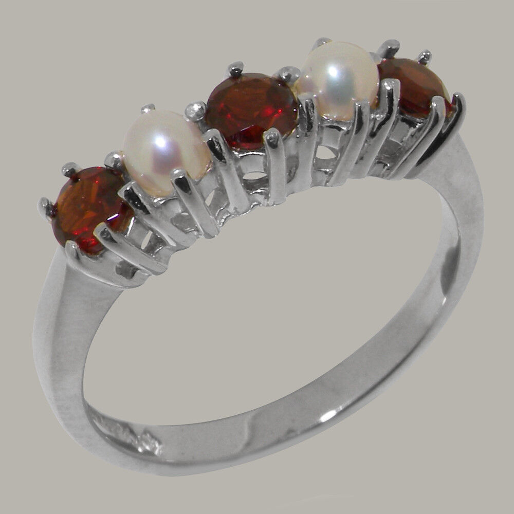 18ct 750 White gold Natural Garnet & Pearl Womens Eternity Ring - Sizes J to Z