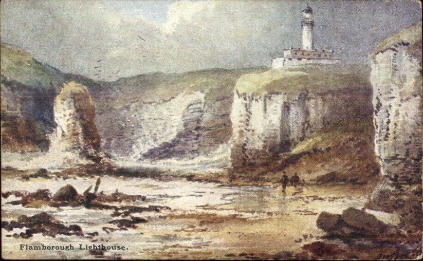 Flamborough UK Lighthouse c1910 Postcard #1