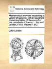 Mathematical Memoirs Respecting a Variety of Subjects; With an Appendix Containing Tables of Theorems for the Calculation of Fluents. ... by John Landen, F.R.S. Volume 1 of 2 by John Landen (Paperback / softback, 2010)