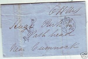 1858-EDINBURGH-BLUE-CROWN-PAID-OHMS-PRINTED-I-R-CIRC-TO-HUGH-PARK-Nr-CUMNOCK