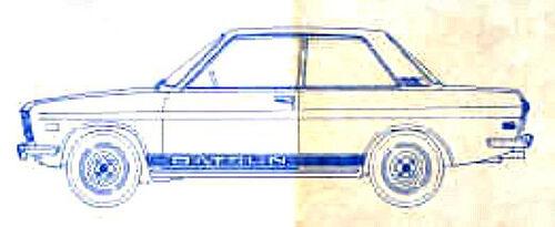 New 1967-1979 Datsun 510 610 1200 Lower Body Side Stripe Kit