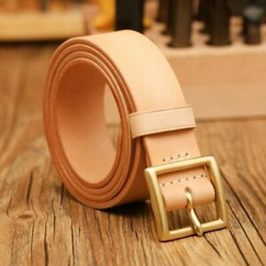 Handmade-Custom-made-Vegetable-tanned-leather-cowhide-belt-brass-buckle-35-38mm