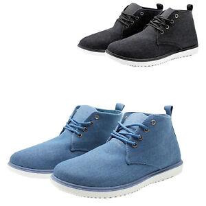 Dettagli su Polacchine uomo Scarpe jeans tessuto stivaletti estivi polacchini blu ble nero