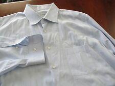 Ermenegildo Zegna 18.5-34 Blue Long Sleeve Men's Dress Shirt EUC