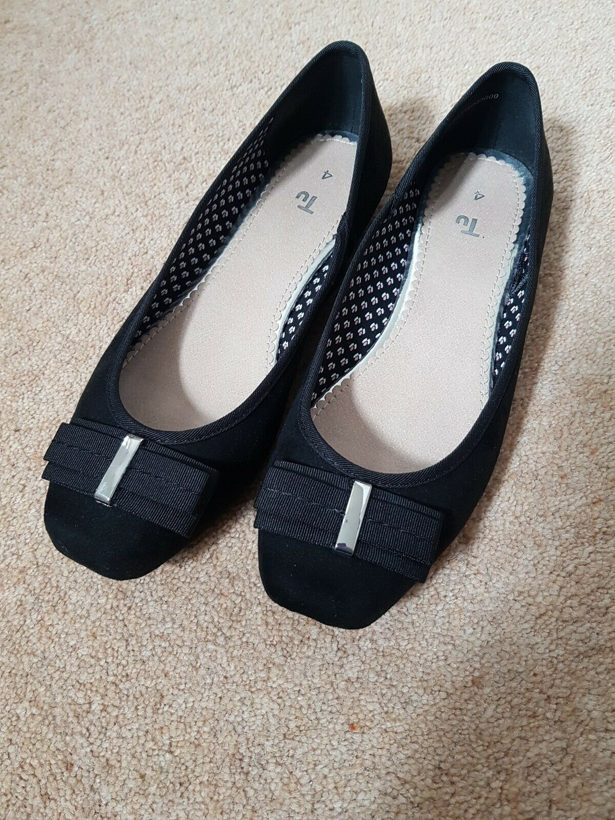 Ladies Black Ballerine Shoes, Size 4 From TU. VGC only Worn A Couple Of Times