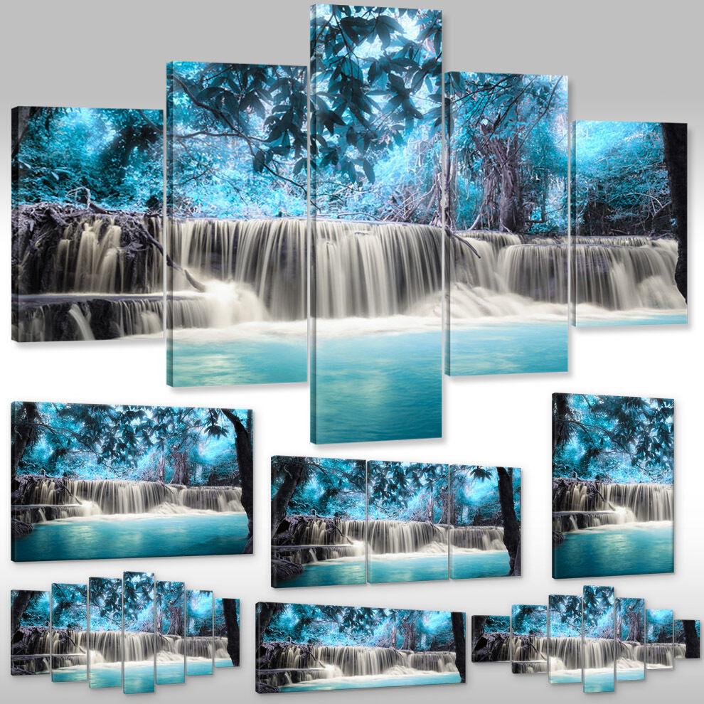 Leinwandbild Canvas Print Keilrahmen Natur Landschaft blauer Wasserfall Kaskade