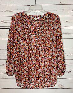 Pleione-Anthropologie-Women-039-s-S-Small-Orange-Pink-Cute-Summer-Top-Blouse-Shirt