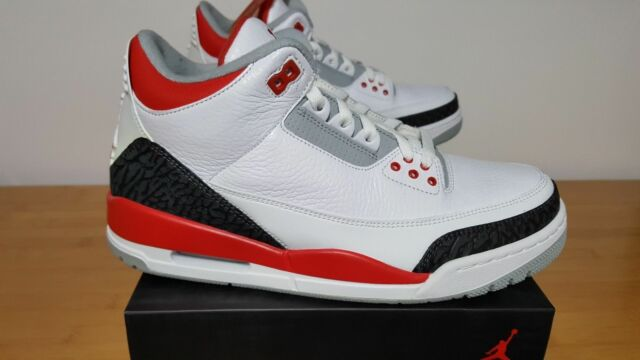 half off 9215c 424ef Frequently bought together. Nike Air Jordan 3 III Retro FIRE RED 11.5 US White  Black Cement ...