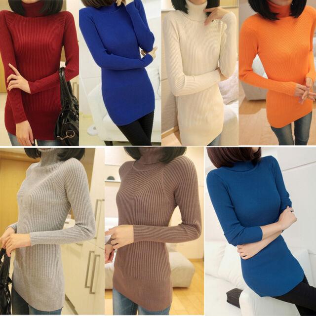 New Women Turtleneck Long Knit Casual Long Sleeve Pullover Outwear Tops Sweater