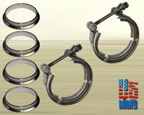 """2 x 2.5/"""" V-Band Clamp Flange for Twin Turbo Dual Exhaust Downpipe Cat Converter"""