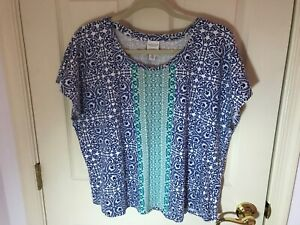 Woman-s-Chico-s-weekends-plus-size-3-blue-multicolored-cap-sleeve-top