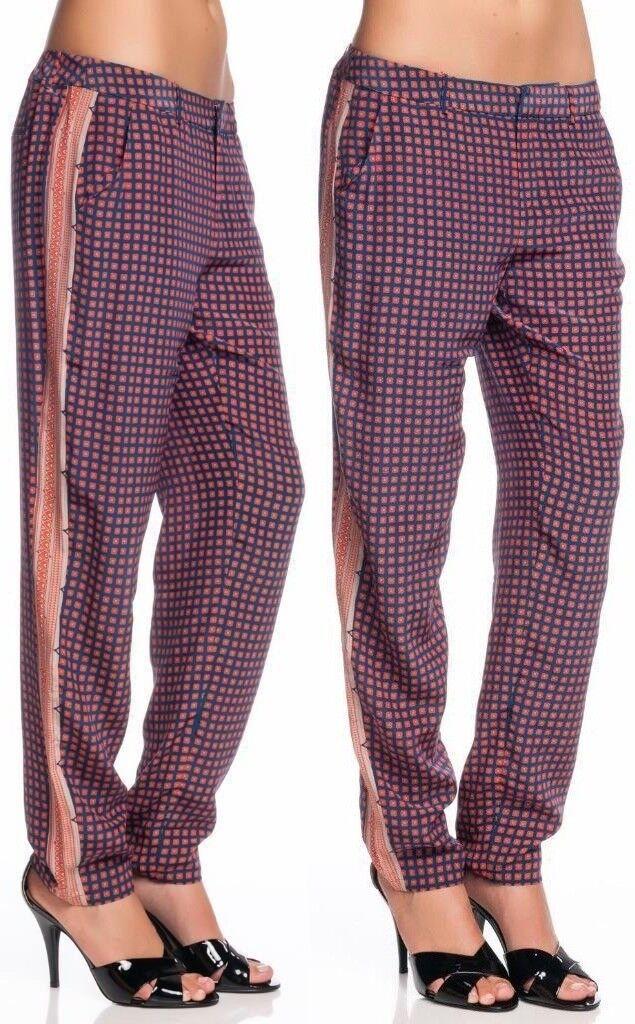 Joie Olaya Pant Mallard Blau Scarf Print Silk Straight leg Zipper Pocket rot NEW