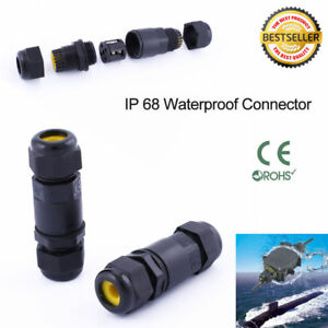 3 Pin DIY Waterproof Junction Box Connector Electric Cable Inline Wire Plug IP68