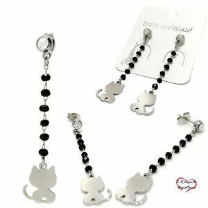 orecchini-donna-pendenti-neri-con-gatto-cristalli-da-strass-acciaio-inox-a-filo
