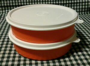 373c7307b74d Details about Two New Tupperware Big Wonders Bowls 2 Cup Orange White Salad  Lunch Snack Cereal