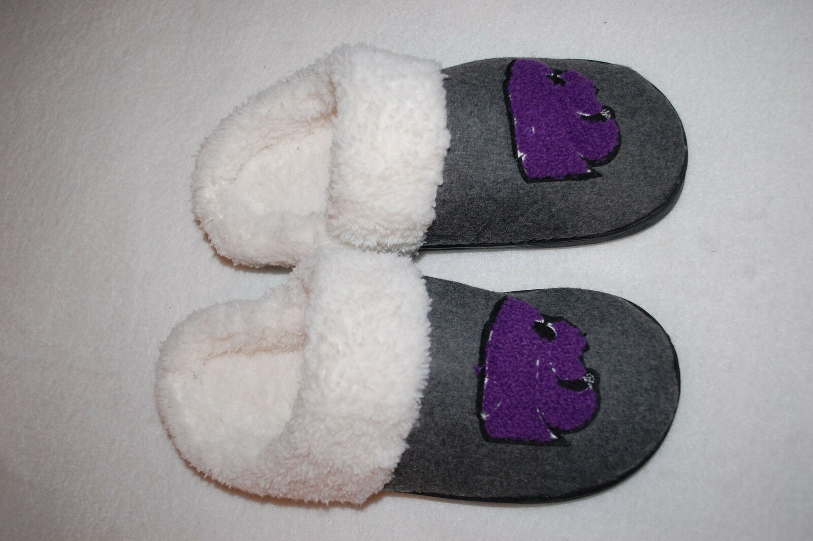 Womens Slippers K-STATE WILDCATS Powercats GRAY OPEN BACK Sherpa Lined S 5-6