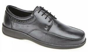 Lace Fulfit Shoes Wide Mens Roamers Leather Padded up Office Black Soft Comfy qt0nxp
