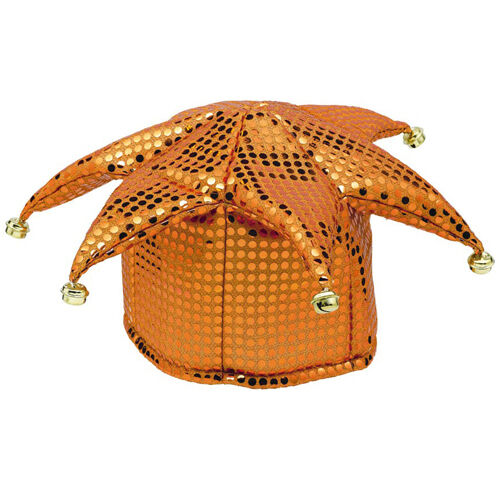ORANGE SEQUIN JESTER HAT ~ Halloween Birthday Party Supplies Costume Cosplay