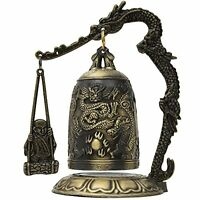 Oriental Furniture Buddhist Art Gift Ideas, 5-Inch Chinese Dragon Gong with Ringer and Lotus Pedimen... Home Furnishings on Sale